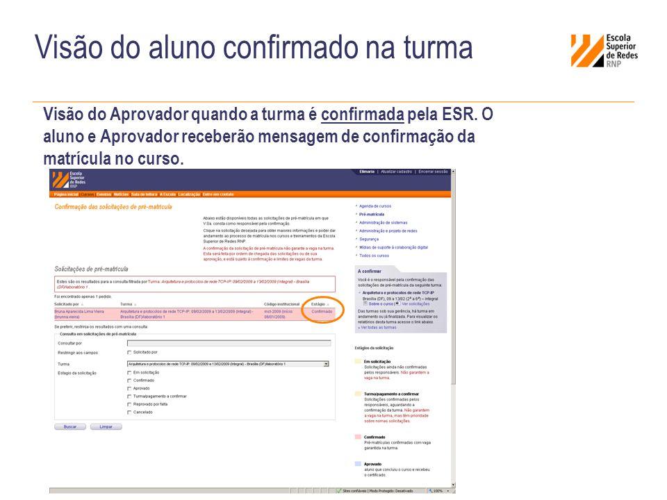 Visão do aluno confirmado na turma Visão do Aprovador quando a turma é confirmada pela ESR.
