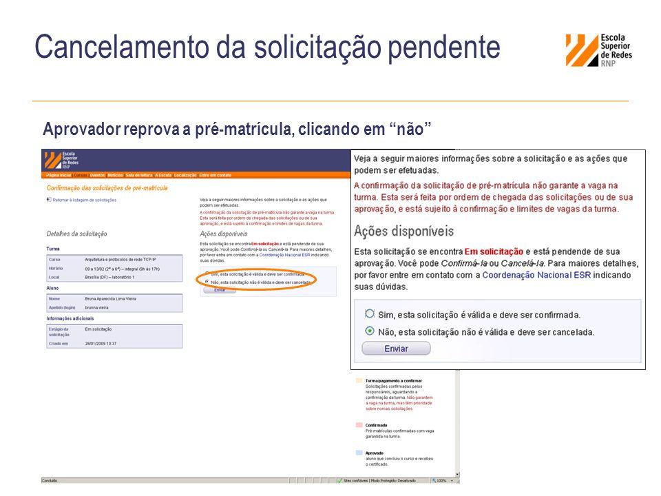 Cancelamento da solicitação pendente Aprovador reprova a pré-matrícula, clicando em não