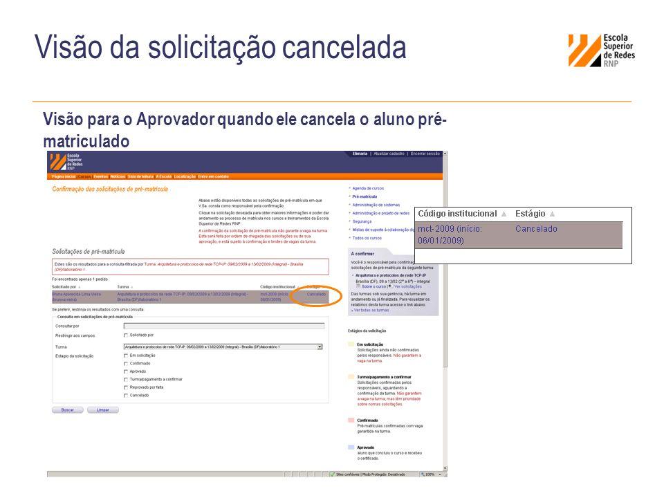 Visão da solicitação cancelada Visão para o Aprovador quando ele cancela o aluno pré- matriculado