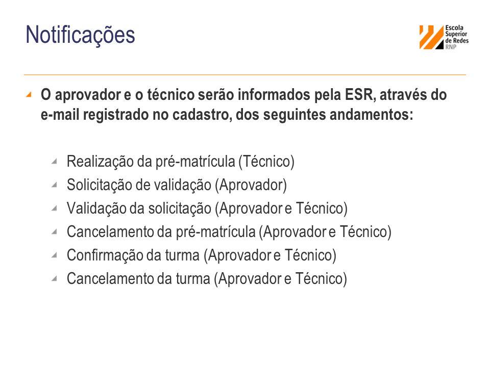 Notificações O aprovador e o técnico serão informados pela ESR, através do e-mail registrado no cadastro, dos seguintes andamentos: Realização da pré-