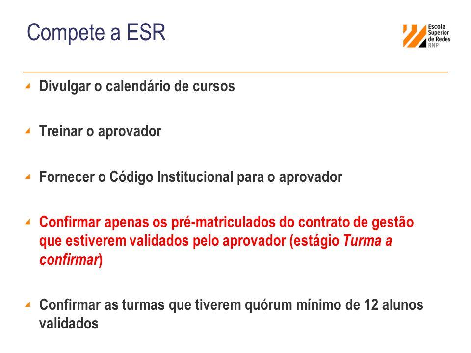 Compete a ESR Divulgar o calendário de cursos Treinar o aprovador Fornecer o Código Institucional para o aprovador Confirmar apenas os pré-matriculado
