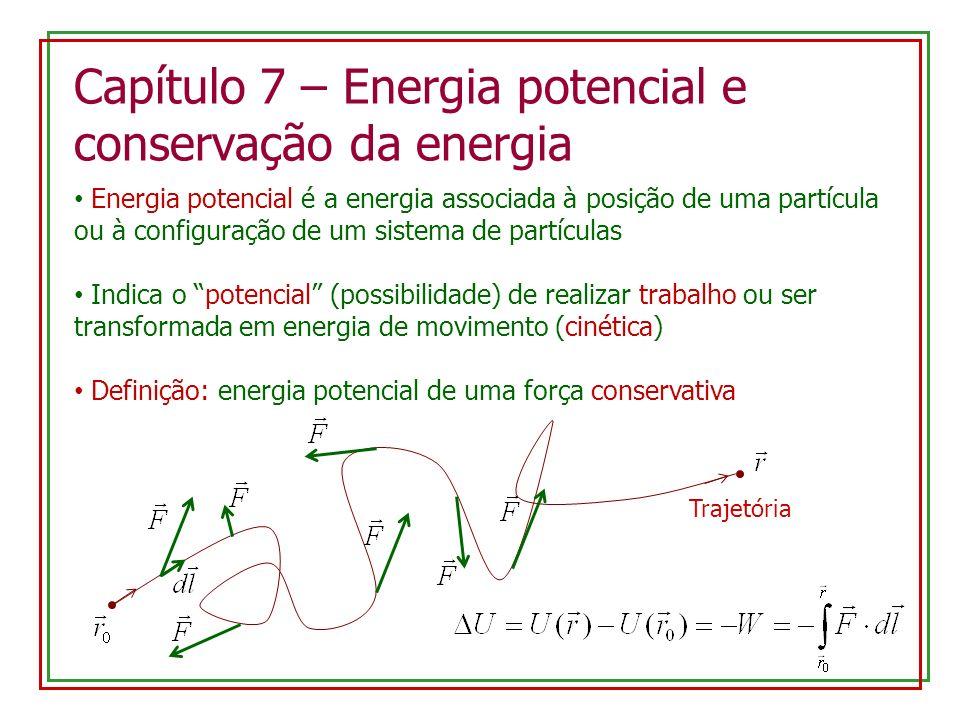 Capítulo 7 – Energia potencial e conservação da energia Energia potencial é a energia associada à posição de uma partícula ou à configuração de um sis