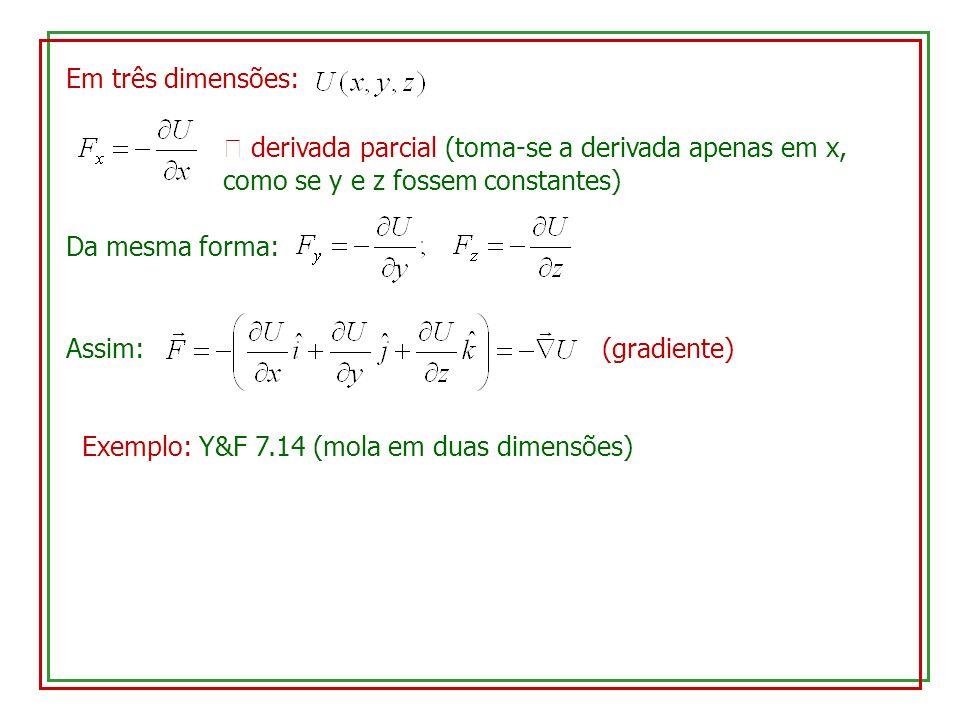 Em três dimensões: derivada parcial (toma-se a derivada apenas em x, como se y e z fossem constantes) Da mesma forma: Assim: (gradiente) Exemplo: Y&F