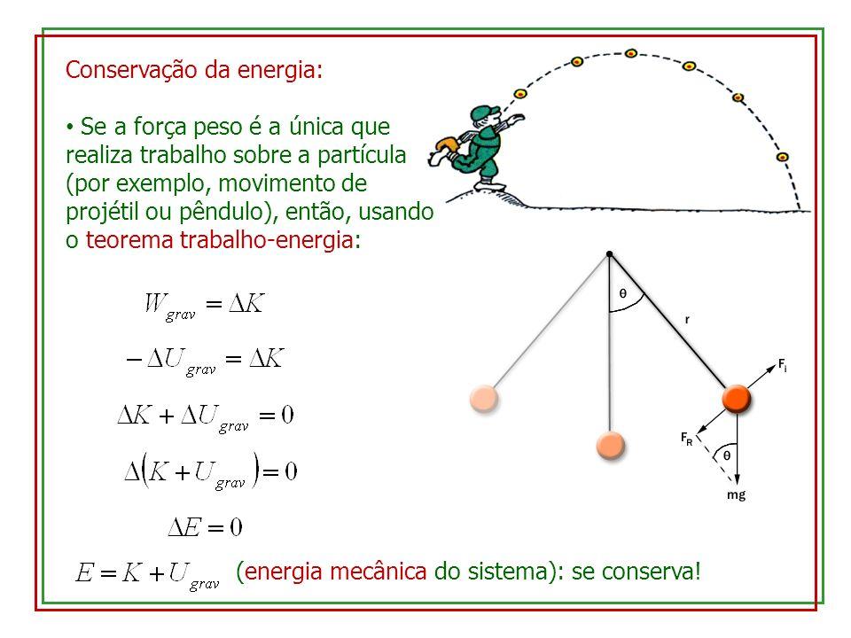 Conservação da energia: Se a força peso é a única que realiza trabalho sobre a partícula (por exemplo, movimento de projétil ou pêndulo), então, usand
