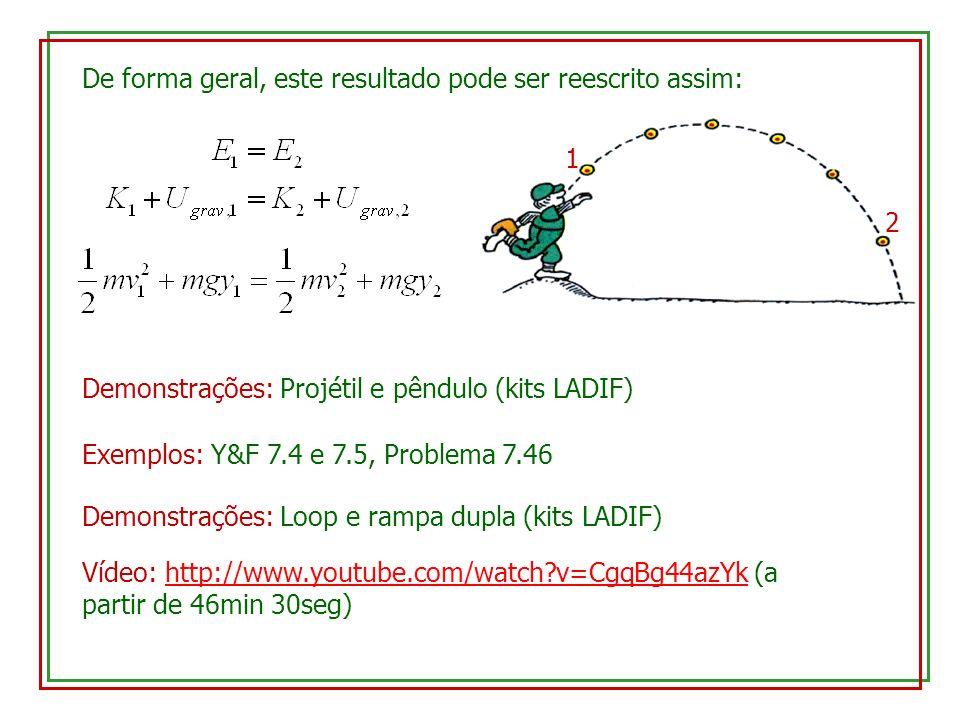 De forma geral, este resultado pode ser reescrito assim: 1 2 Demonstrações: Projétil e pêndulo (kits LADIF) Exemplos: Y&F 7.4 e 7.5, Problema 7.46 Dem