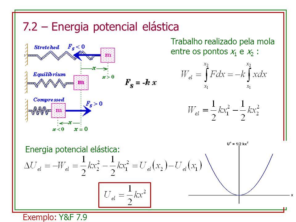 7.2 – Energia potencial elástica Trabalho realizado pela mola entre os pontos x 1 e x 2 : Energia potencial elástica: Exemplo: Y&F 7.9