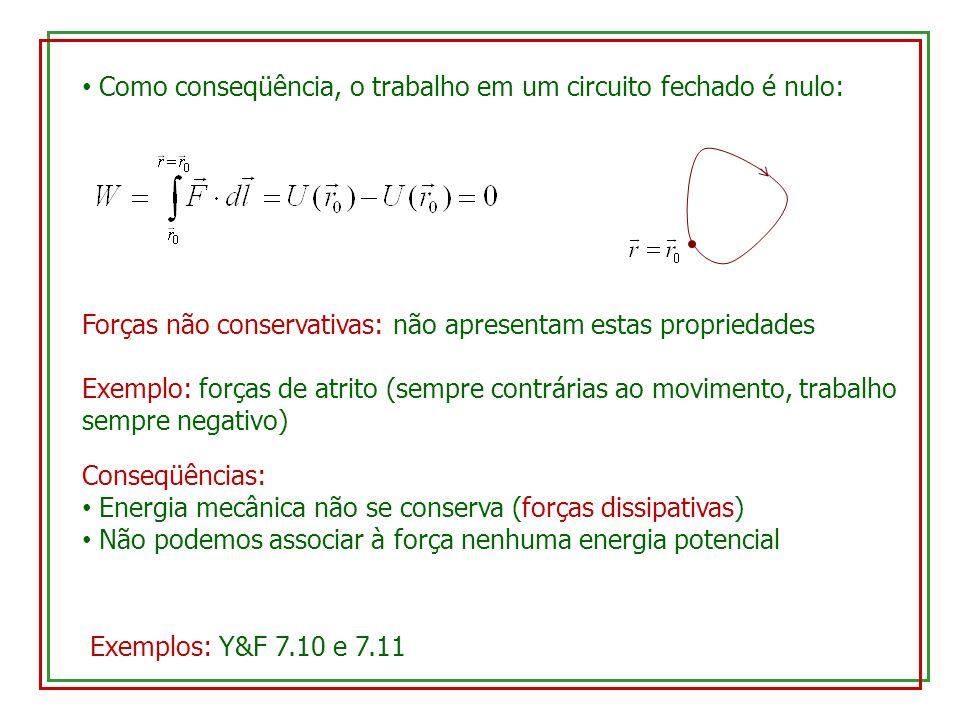 Como conseqüência, o trabalho em um circuito fechado é nulo: Forças não conservativas: não apresentam estas propriedades Exemplo: forças de atrito (se