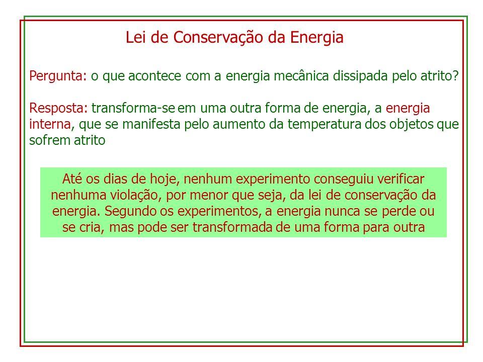 Lei de Conservação da Energia Pergunta: o que acontece com a energia mecânica dissipada pelo atrito? Resposta: transforma-se em uma outra forma de ene