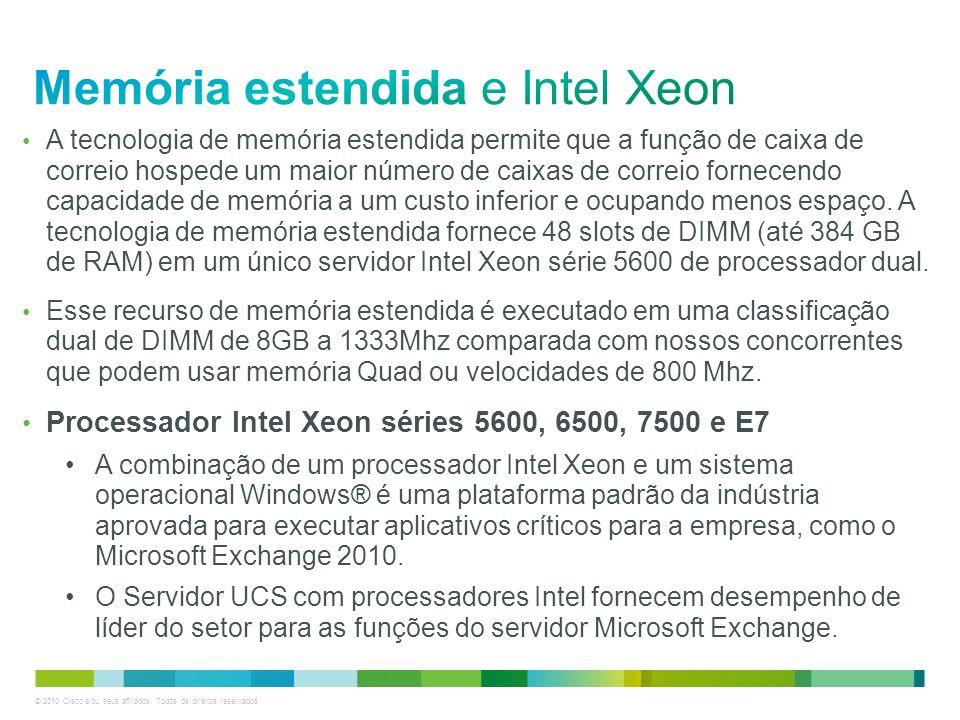 © 2010 Cisco e/ou seus afiliados. Todos os direitos reservados. A tecnologia de memória estendida permite que a função de caixa de correio hospede um