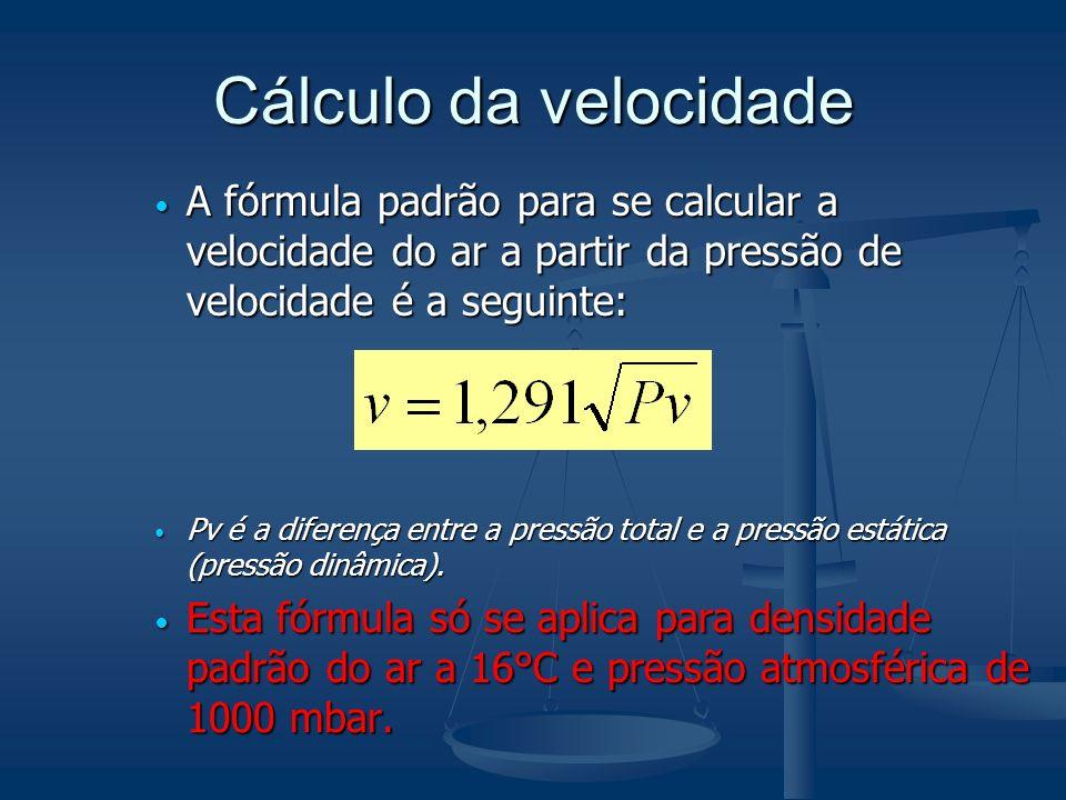 Cálculo da velocidade A fórmula padrão para se calcular a velocidade do ar a partir da pressão de velocidade é a seguinte: A fórmula padrão para se calcular a velocidade do ar a partir da pressão de velocidade é a seguinte: Pv é a diferença entre a pressão total e a pressão estática (pressão dinâmica).