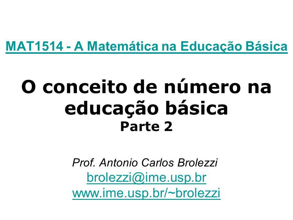 MAT1514 - A Matemática na Educação Básica MAT1514 - A Matemática na Educação Básica O conceito de número na educação básica Parte 2 Prof. Antonio Carl