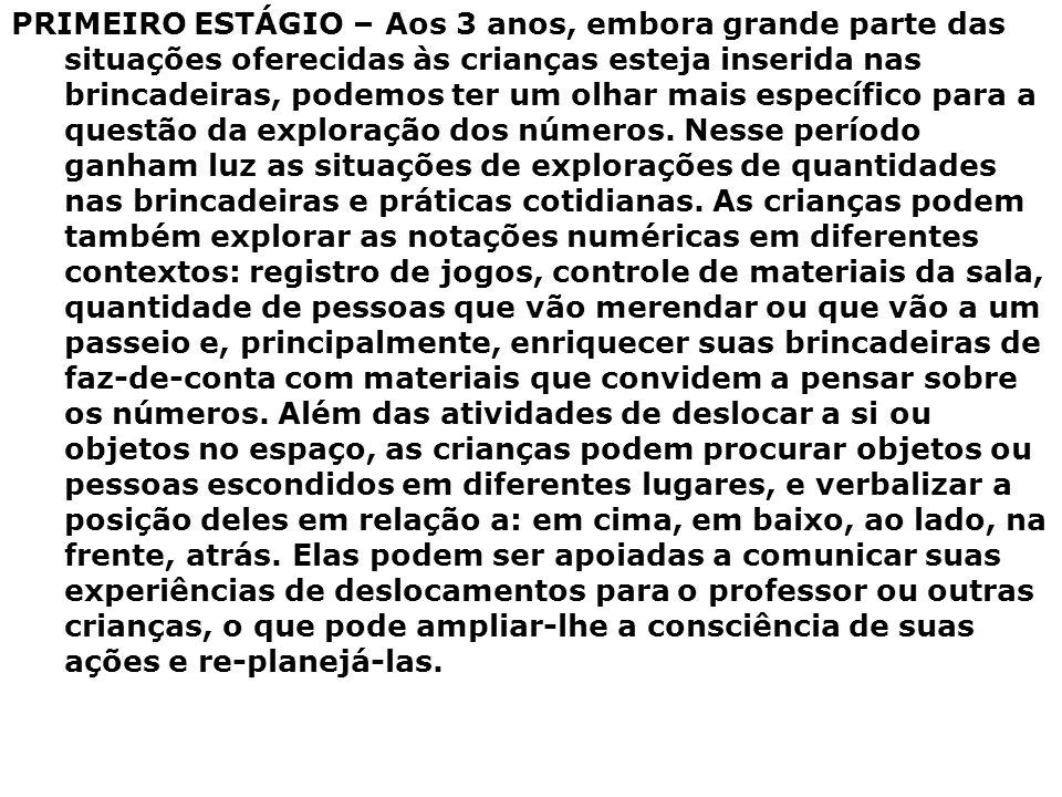 PRIMEIRO ESTÁGIO – Aos 3 anos, embora grande parte das situações oferecidas às crianças esteja inserida nas brincadeiras, podemos ter um olhar mais es