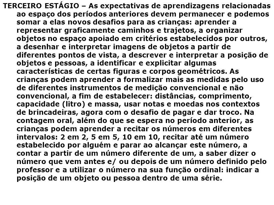 TERCEIRO ESTÁGIO – As expectativas de aprendizagens relacionadas ao espaço dos períodos anteriores devem permanecer e podemos somar a elas novos desaf