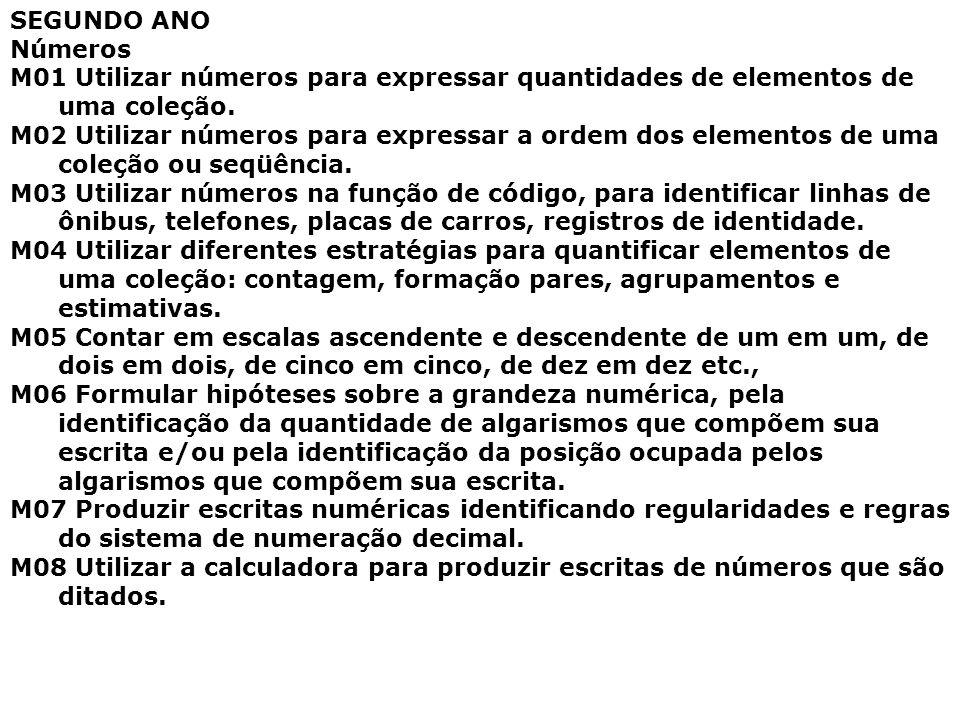 SEGUNDO ANO Números M01 Utilizar números para expressar quantidades de elementos de uma coleção. M02 Utilizar números para expressar a ordem dos eleme