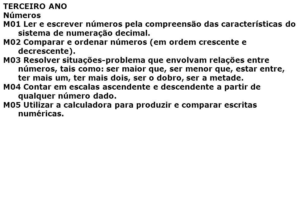 TERCEIRO ANO Números M01 Ler e escrever números pela compreensão das características do sistema de numeração decimal. M02 Comparar e ordenar números (
