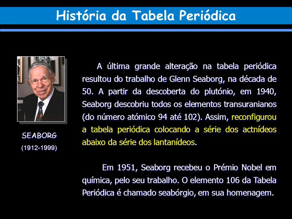 SEABORG(1912-1999) A última grande alteração na tabela periódica resultou do trabalho de Glenn Seaborg, na década de 50. A partir da descoberta do plu