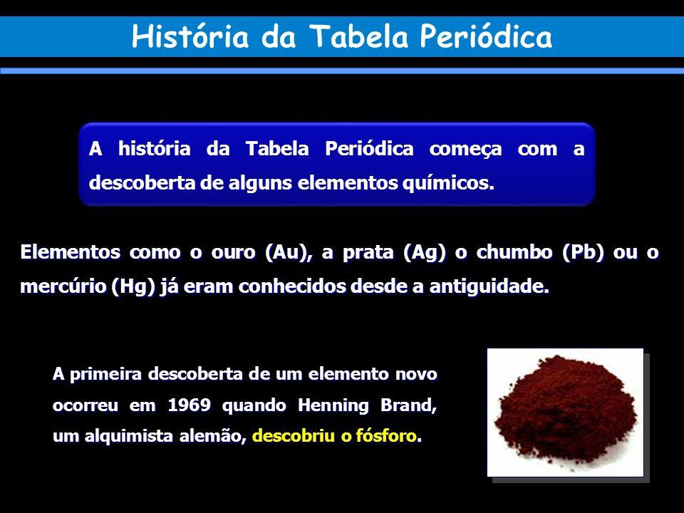 A história da Tabela Periódica começa com a descoberta de alguns elementos químicos. Elementos como o ouro (Au), a prata (Ag) o chumbo (Pb) ou o mercú