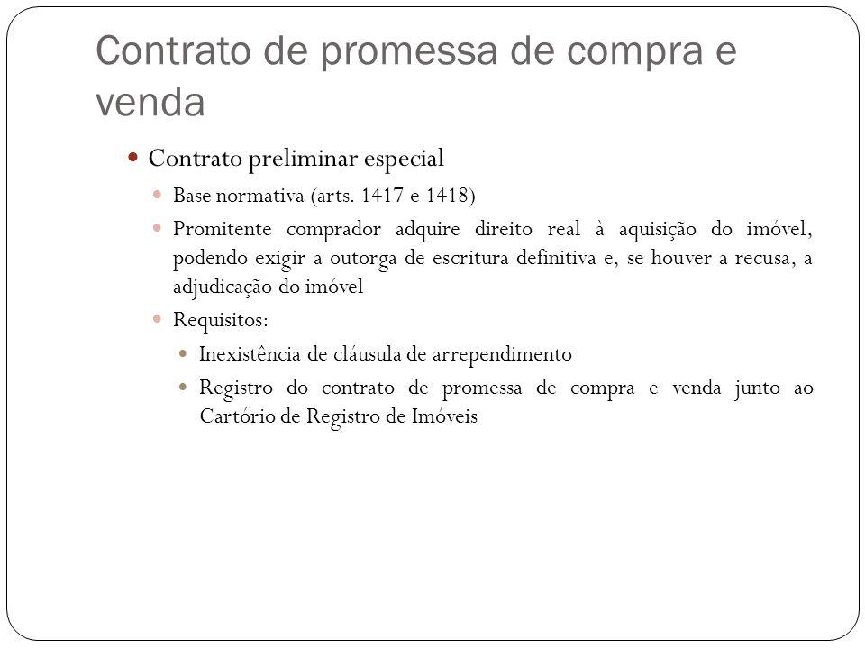 Contrato de promessa de compra e venda Contrato preliminar especial Base normativa (arts. 1417 e 1418) Promitente comprador adquire direito real à aqu