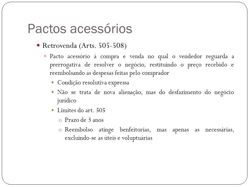 Pactos acessórios Retrovenda (Arts. 505-508) Pacto acessório à compra e venda no qual o vendedor reguarda a prerrogativa de resolver o negócio, restit