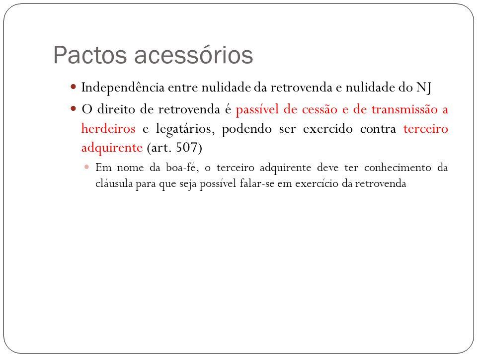Pactos acessórios Independência entre nulidade da retrovenda e nulidade do NJ O direito de retrovenda é passível de cessão e de transmissão a herdeiro