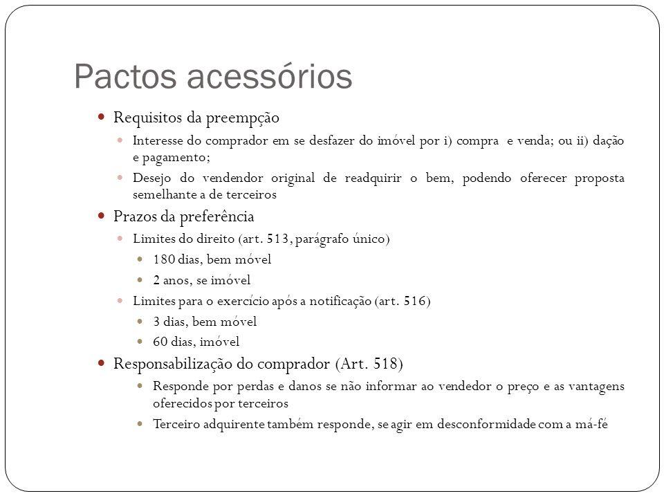 Pactos acessórios Requisitos da preempção Interesse do comprador em se desfazer do imóvel por i) compra e venda; ou ii) dação e pagamento; Desejo do v