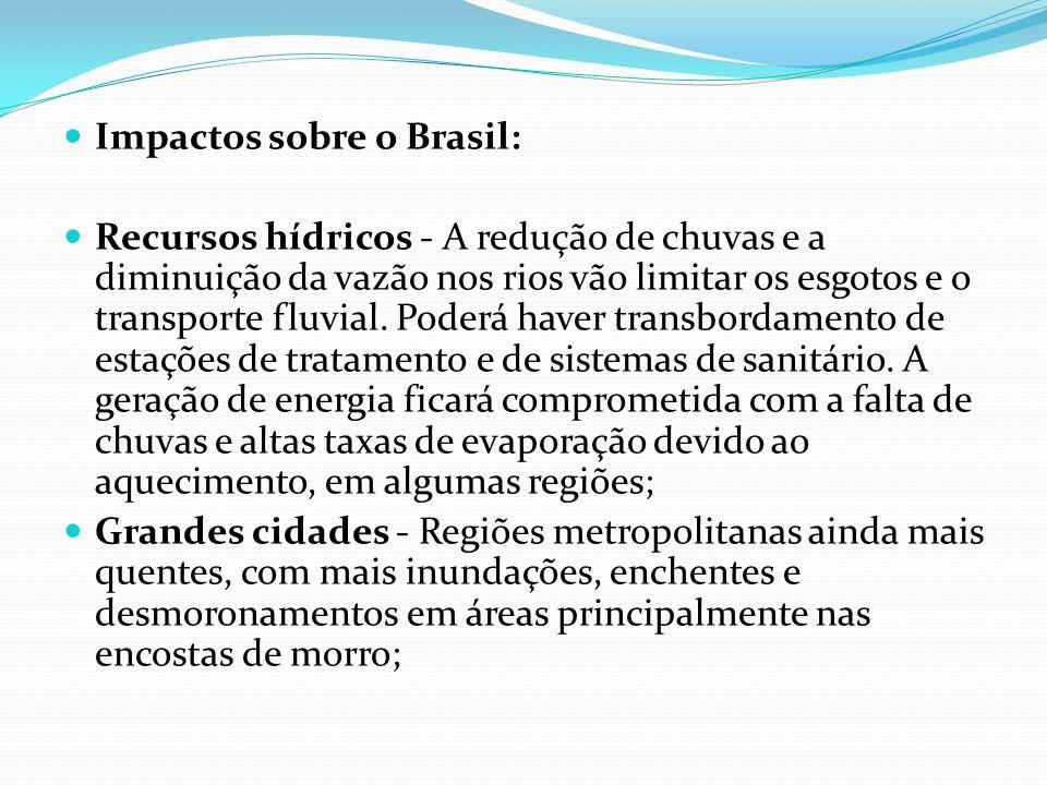 Impactos sobre o Brasil: Recursos hídricos - A redução de chuvas e a diminuição da vazão nos rios vão limitar os esgotos e o transporte fluvial. Poder