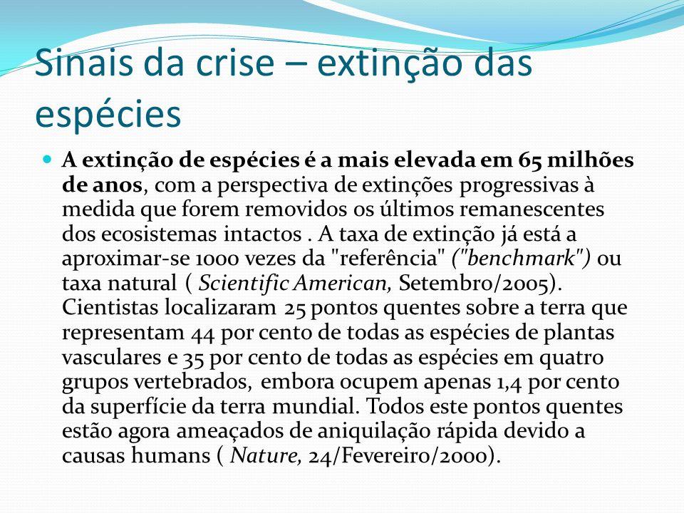 Sinais da crise – extinção das espécies A extinção de espécies é a mais elevada em 65 milhões de anos, com a perspectiva de extinções progressivas à m