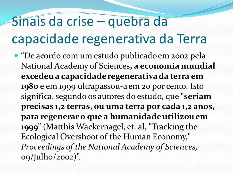 Sinais da crise – quebra da capacidade regenerativa da Terra De acordo com um estudo publicado em 2002 pela National Academy of Sciences, a economia m