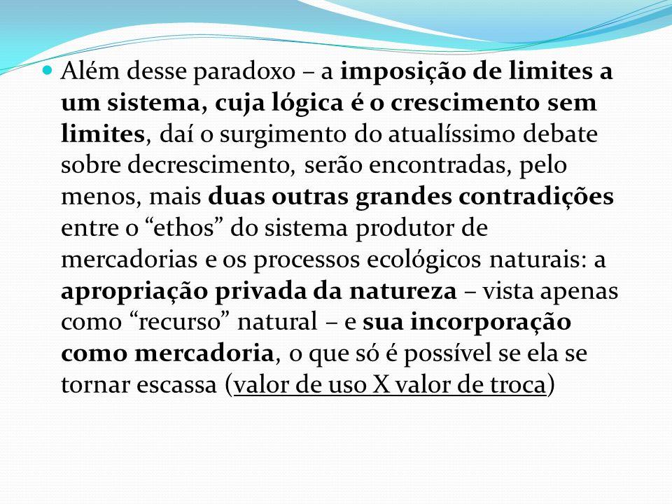 Além desse paradoxo – a imposição de limites a um sistema, cuja lógica é o crescimento sem limites, daí o surgimento do atualíssimo debate sobre decre