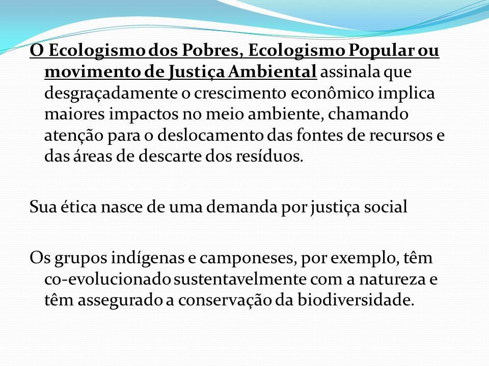 O Ecologismo dos Pobres, Ecologismo Popular ou movimento de Justiça Ambiental assinala que desgraçadamente o crescimento econômico implica maiores imp