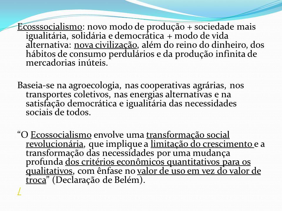 Ecosssocialismo: novo modo de produção + sociedade mais igualitária, solidária e democrática + modo de vida alternativa: nova civilização, além do rei