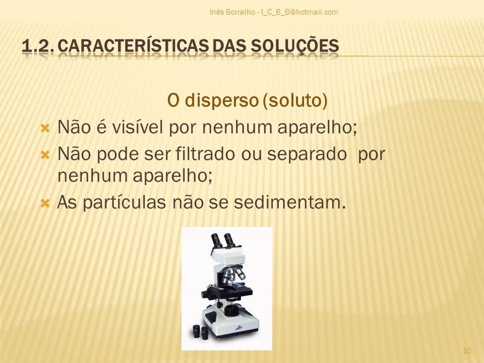 O disperso (soluto) Não é visível por nenhum aparelho; Não pode ser filtrado ou separado por nenhum aparelho; As partículas não se sedimentam. 10 Inês