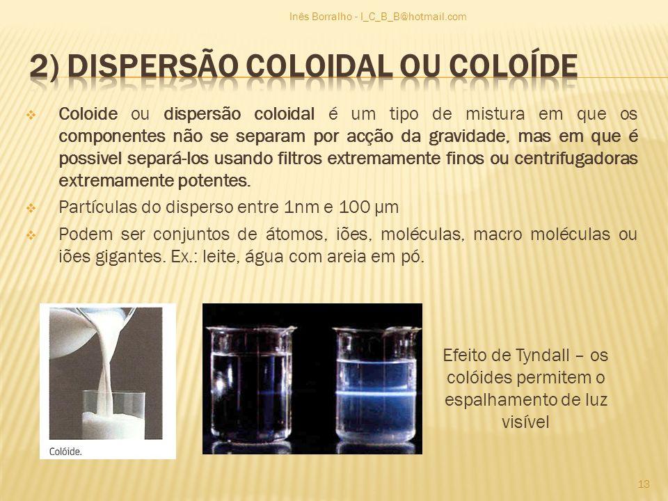 Coloide ou dispersão coloidal é um tipo de mistura em que os componentes não se separam por acção da gravidade, mas em que é possivel separá-los usand