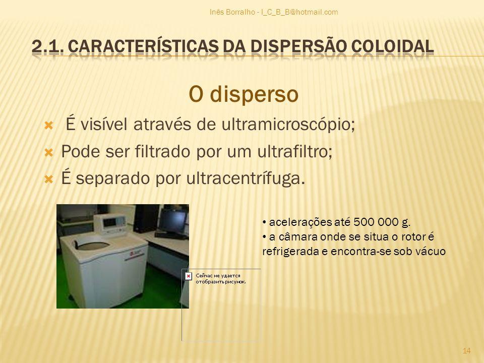 O disperso É visível através de ultramicroscópio; Pode ser filtrado por um ultrafiltro; É separado por ultracentrífuga. acelerações até 500 000 g. a c