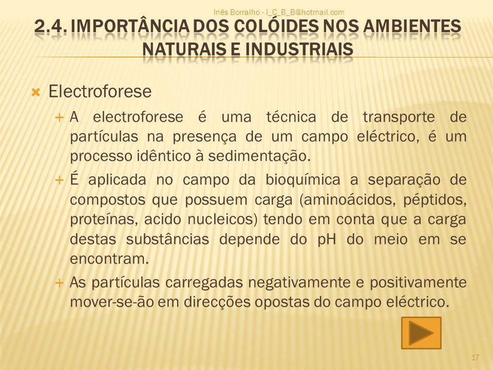 Electroforese A electroforese é uma técnica de transporte de partículas na presença de um campo eléctrico, é um processo idêntico à sedimentação. É ap