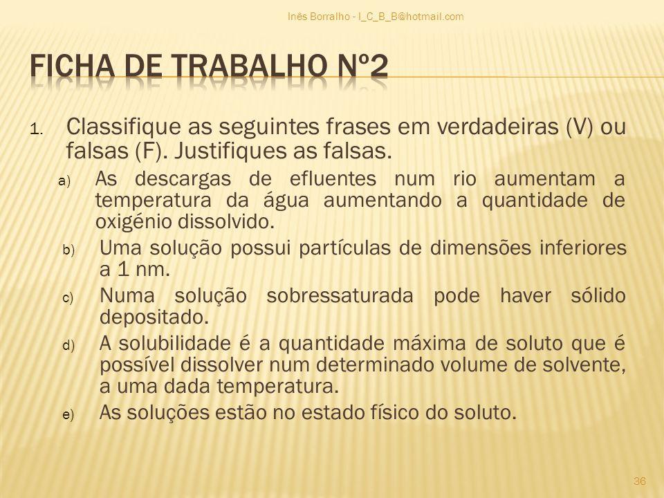 1. Classifique as seguintes frases em verdadeiras (V) ou falsas (F). Justifiques as falsas. a) As descargas de efluentes num rio aumentam a temperatur