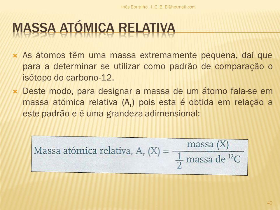 As átomos têm uma massa extremamente pequena, daí que para a determinar se utilizar como padrão de comparação o isótopo do carbono-12. Deste modo, par