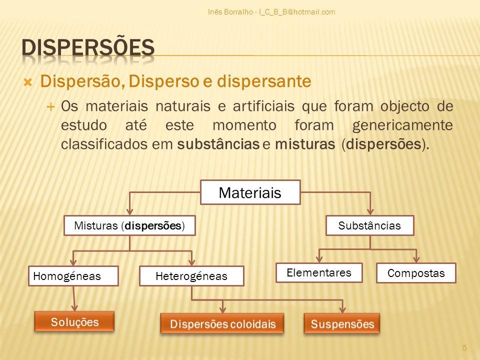 Dispersão, Disperso e dispersante Os materiais naturais e artificiais que foram objecto de estudo até este momento foram genericamente classificados e