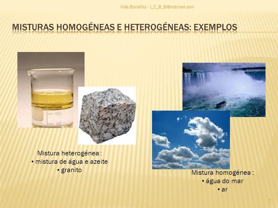 Mistura heterogénea : mistura de água e azeite granito Mistura homogénea : água do mar ar 7 Inês Borralho - I_C_B_B@hotmail.com