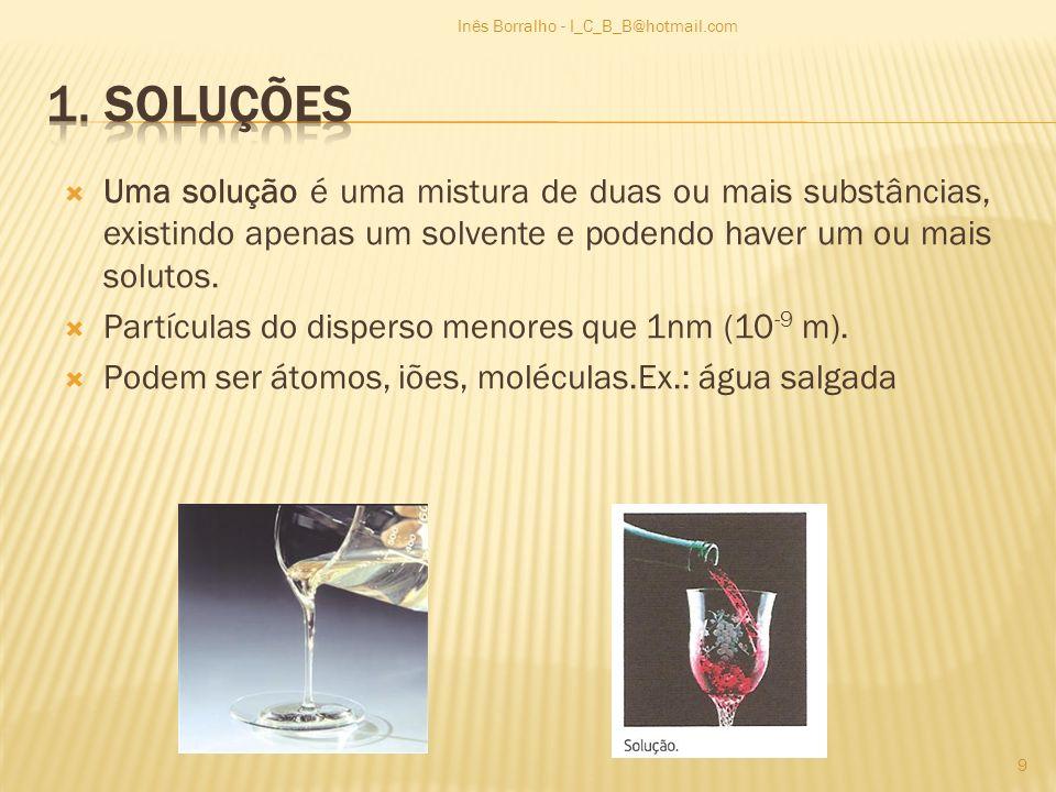 Uma solução é uma mistura de duas ou mais substâncias, existindo apenas um solvente e podendo haver um ou mais solutos. Partículas do disperso menores