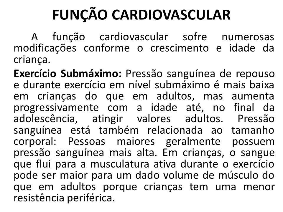 FUNÇÃO CARDIOVASCULAR A função cardiovascular sofre numerosas modificações conforme o crescimento e idade da criança. Exercício Submáximo: Pressão san