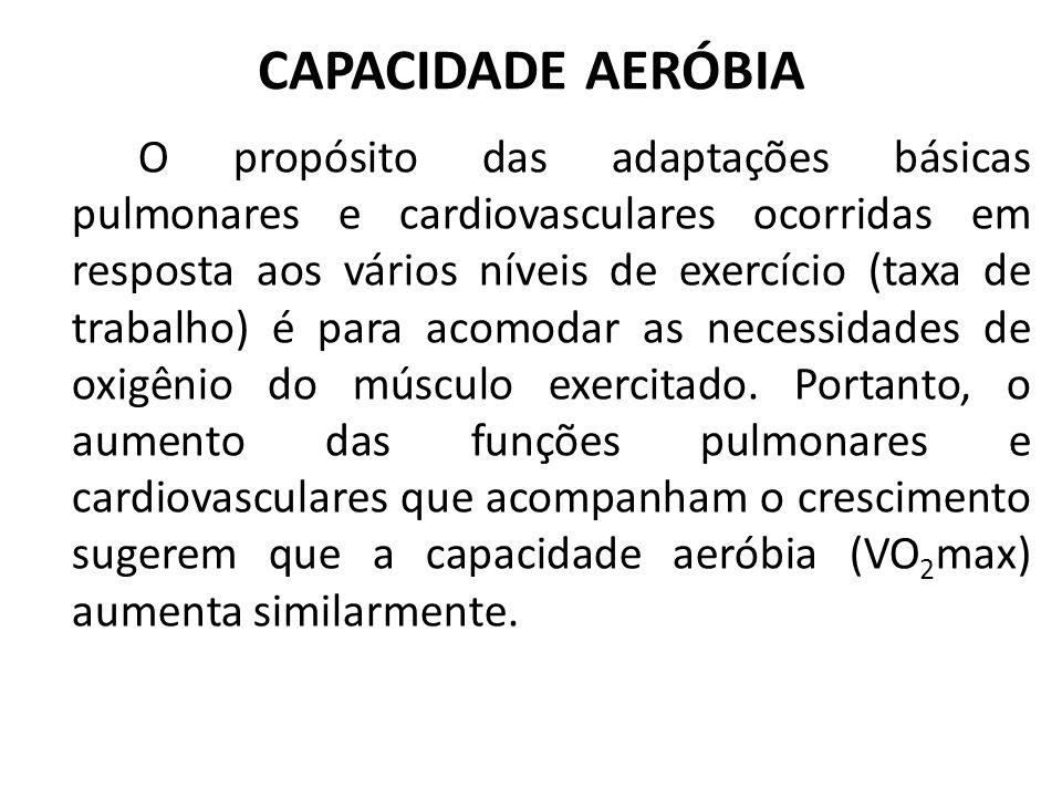 CAPACIDADE AERÓBIA O propósito das adaptações básicas pulmonares e cardiovasculares ocorridas em resposta aos vários níveis de exercício (taxa de trab