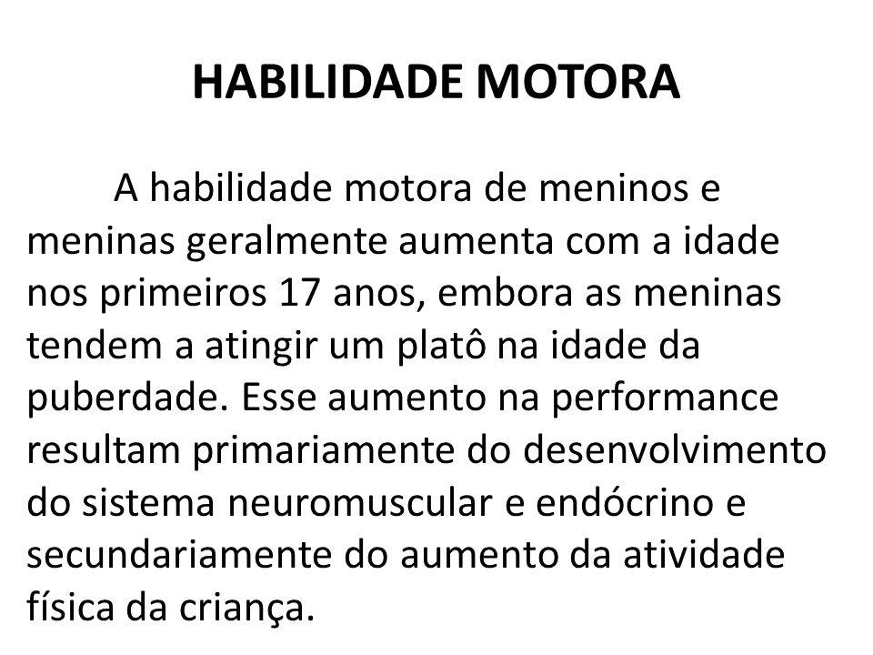 HABILIDADE MOTORA A habilidade motora de meninos e meninas geralmente aumenta com a idade nos primeiros 17 anos, embora as meninas tendem a atingir um