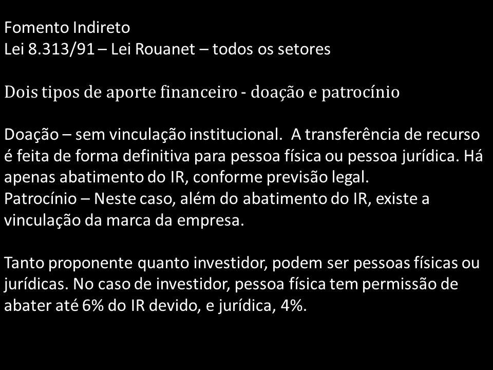 Fomento Indireto Lei 8.313/91 – Lei Rouanet – todos os setores Dois tipos de aporte financeiro - doação e patrocínio Doação – sem vinculação instituci