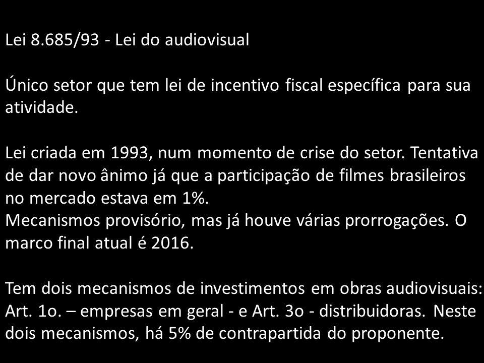 Lei 8.685/93 - Lei do audiovisual Único setor que tem lei de incentivo fiscal específica para sua atividade. Lei criada em 1993, num momento de crise