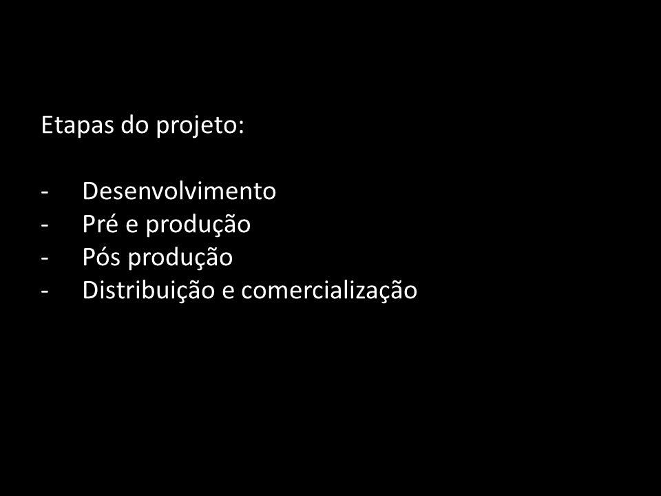 Etapas do projeto: -Desenvolvimento -Pré e produção -Pós produção -Distribuição e comercialização