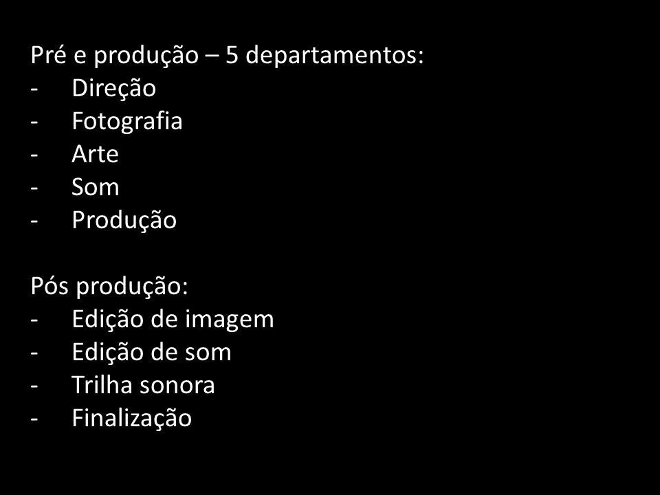Pré e produção – 5 departamentos: -Direção -Fotografia -Arte -Som -Produção Pós produção: -Edição de imagem -Edição de som -Trilha sonora -Finalização