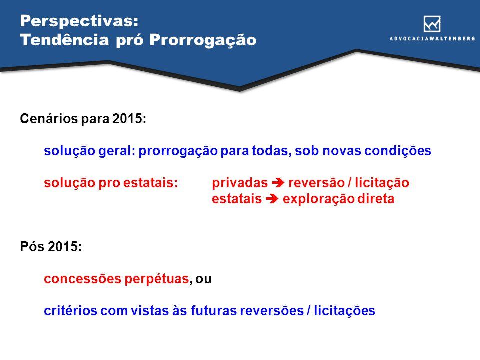 Perspectivas: Tendência pró Prorrogação Cenários para 2015: solução geral: prorrogação para todas, sob novas condições solução pro estatais:privadas reversão / licitação estatais exploração direta Pós 2015: concessões perpétuas, ou critérios com vistas às futuras reversões / licitações