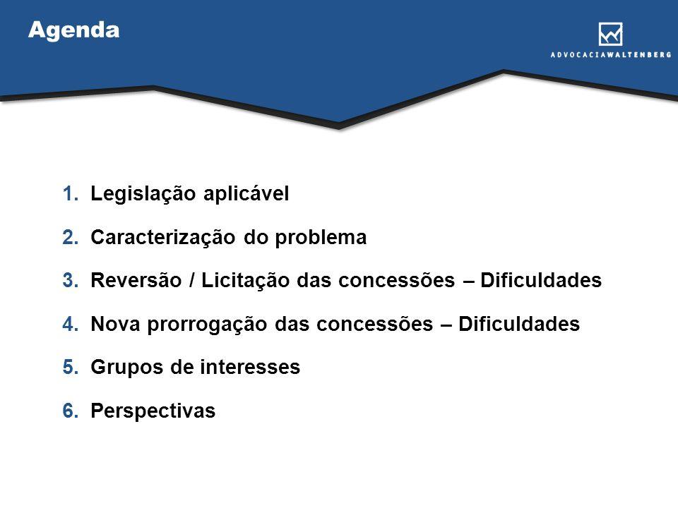 Agenda 1.Legislação aplicável 2.Caracterização do problema 3.Reversão / Licitação das concessões – Dificuldades 4.Nova prorrogação das concessões – Di
