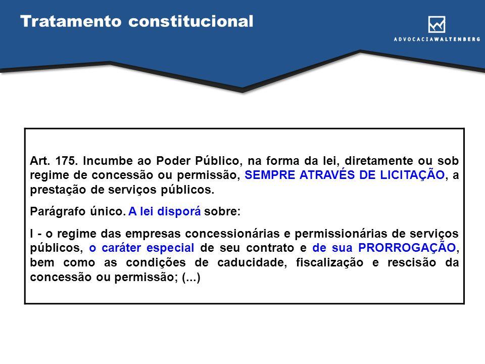 Tratamento constitucional Art. 175. Incumbe ao Poder Público, na forma da lei, diretamente ou sob regime de concessão ou permissão, SEMPRE ATRAVÉS DE